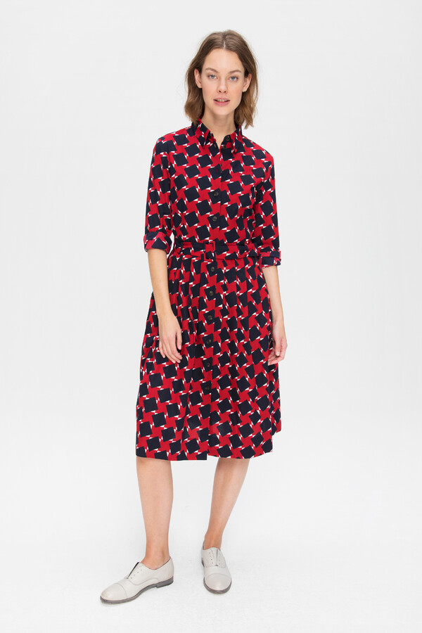 PRINTED COTTON SHIRT DRESS FIERY RED