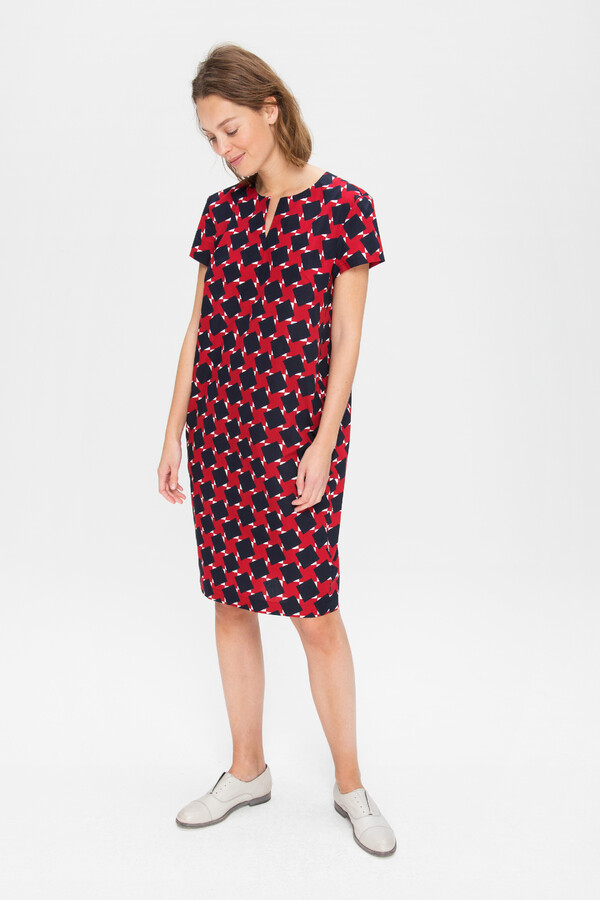 PRINTED COTTON SHIFT DRESS FIERY RED