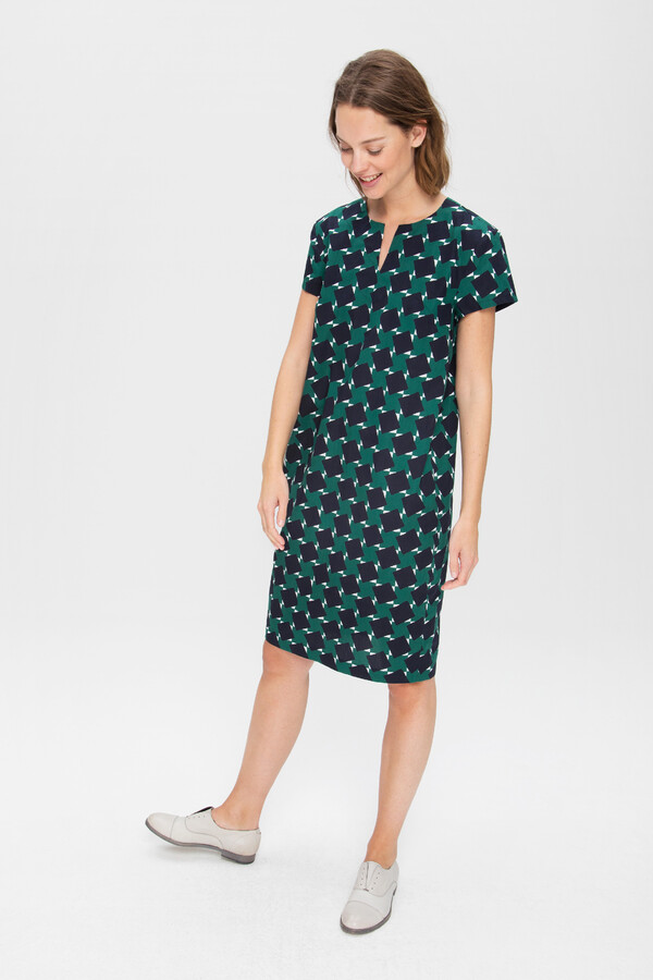 PRINTED COTTON SHIFT DRESS TEAL