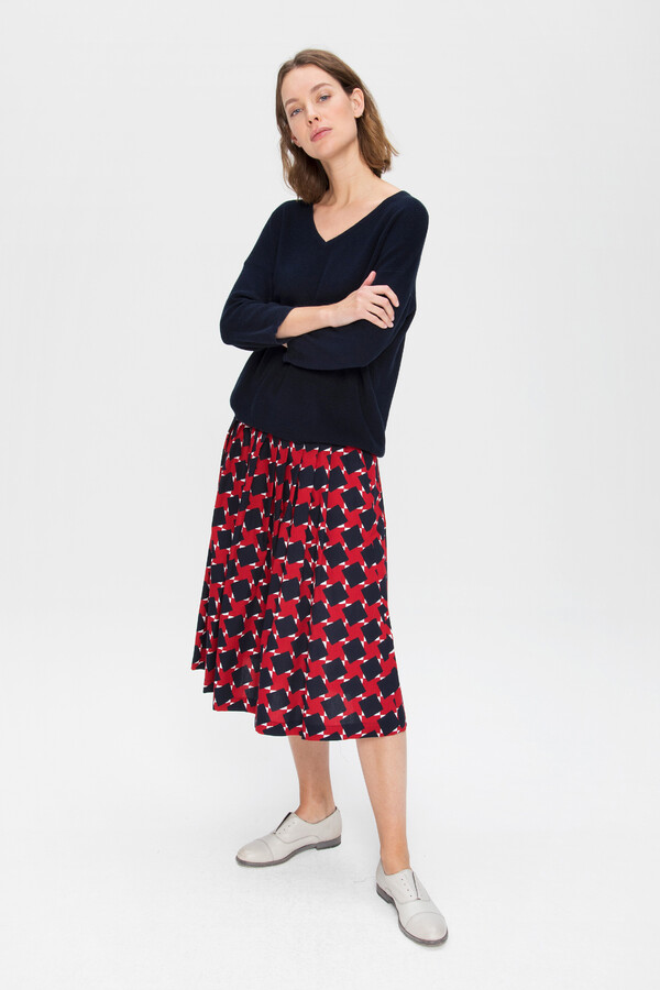 PRINTED PLEATED SKIRT FIERY RED