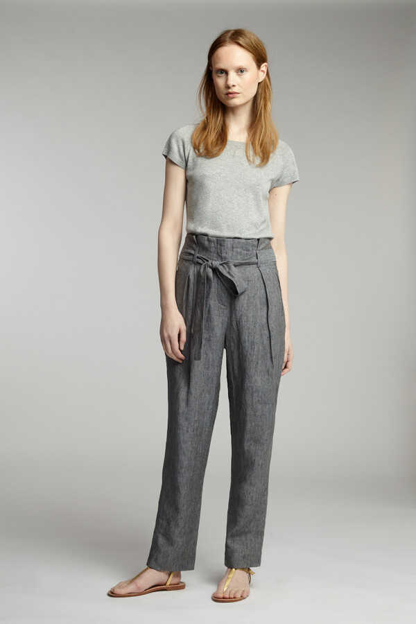 VISCOSE BOAT-NECK PULL GREY MELANGE