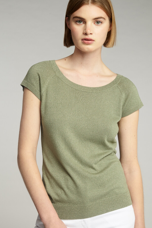 VISCOSE BOAT-NECK PULL SAFARI GREEN