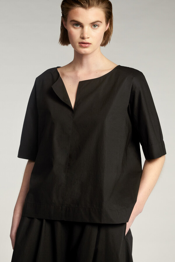COTTON SPLIT FRONT TOP BLACK