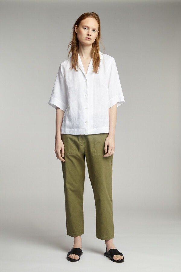 LINEN SHORT-SLEEVE NOTCH SHIRT WHITE