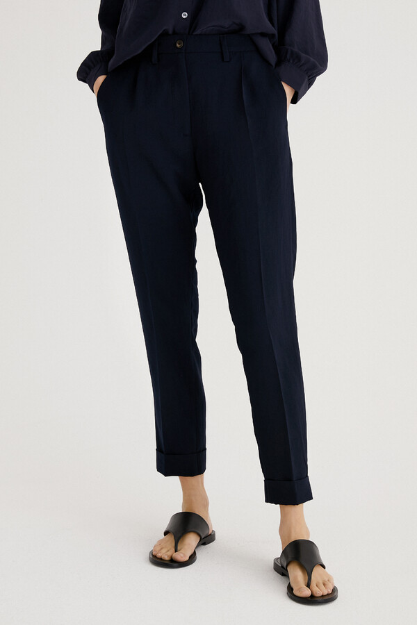 JAPANESE CREPE MAINE HOSE MIDNIGHT BLUE