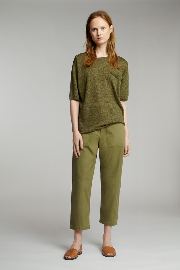 COTTON RELAXED HOSE SAFARI GREEN
