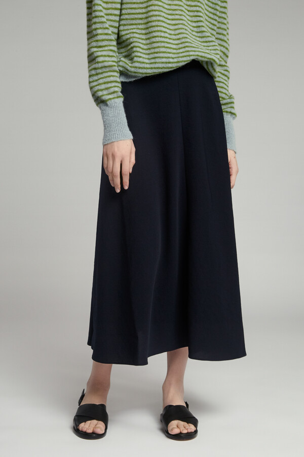 JAPANESE CREPE LONG RÖCKE MIDNIGHT BLUE