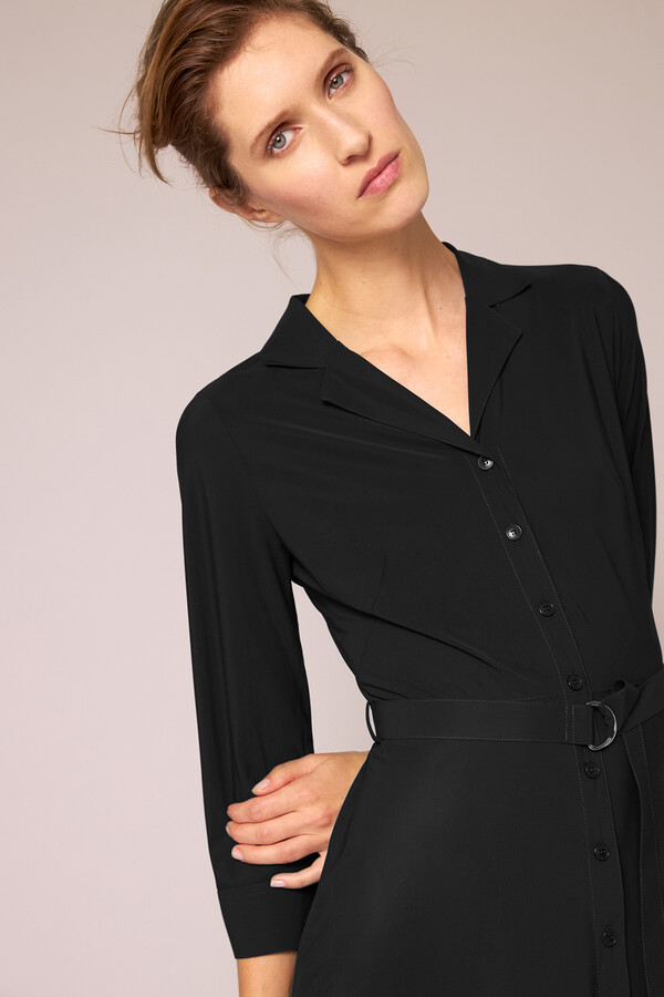 WAISTED SHIRT DRESS BLACK