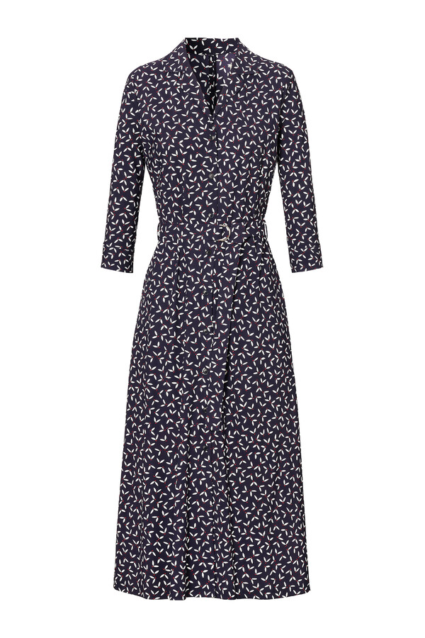 WAISTED SHIRT DRESS PRINTED INK BLUE