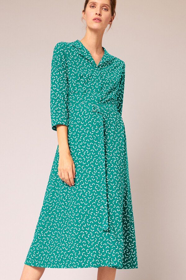 WAISTED SHIRT DRESS PRINTED JADE