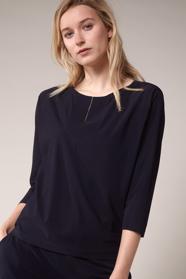 SPLIT NECK LOOSE TOP INK BLUE