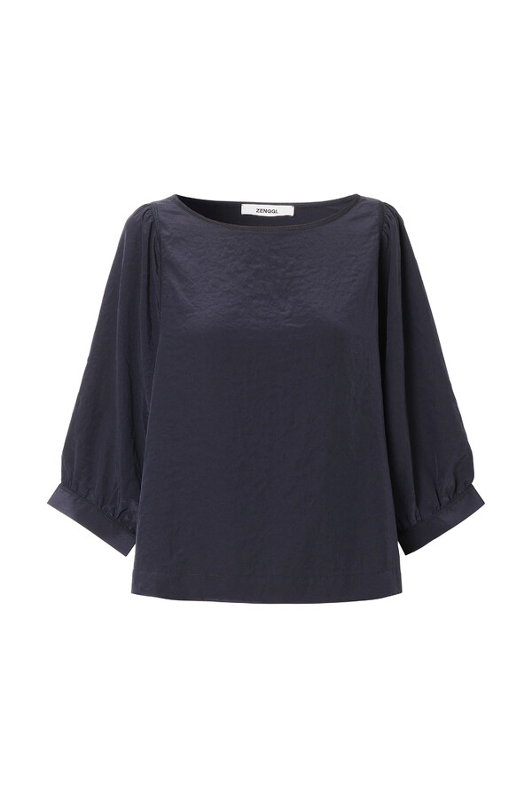 PUFF SLEEVE TOP DARK BLUE
