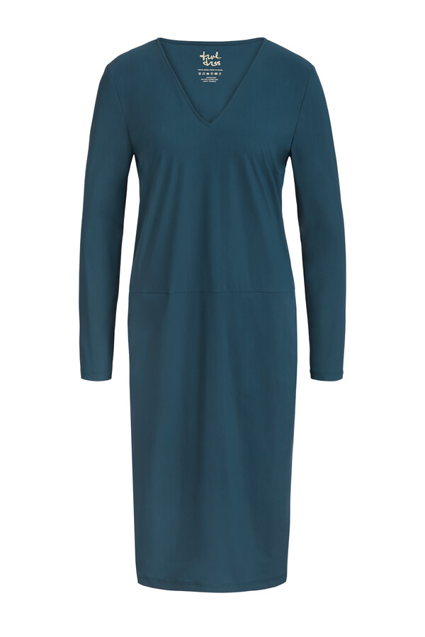 POCKET DRESS LONG SLEEVE DEEP TEAL